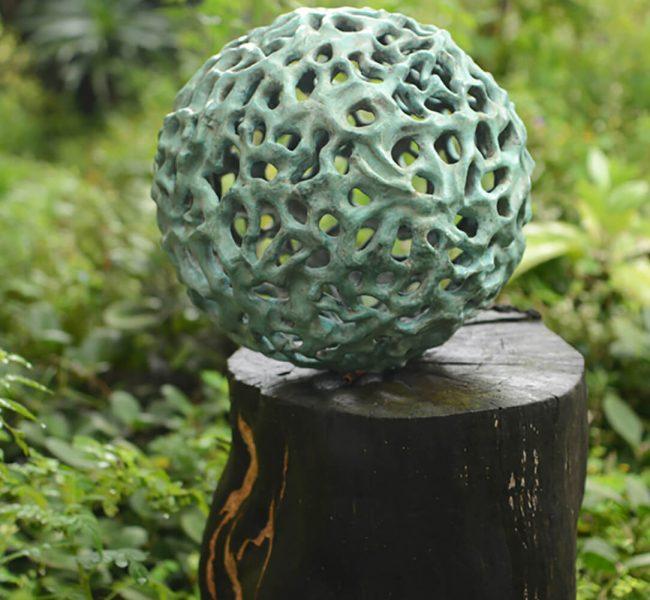 Sphere bronze sculpture